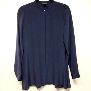 Eileen Fisher Navy Blue Button Down Silk Blouse XS